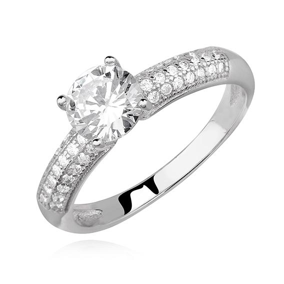 Levně Zásnubní stříbrný prsten