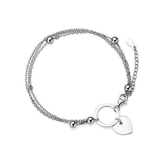 Stříbrný náramek se srdcem a kruhem