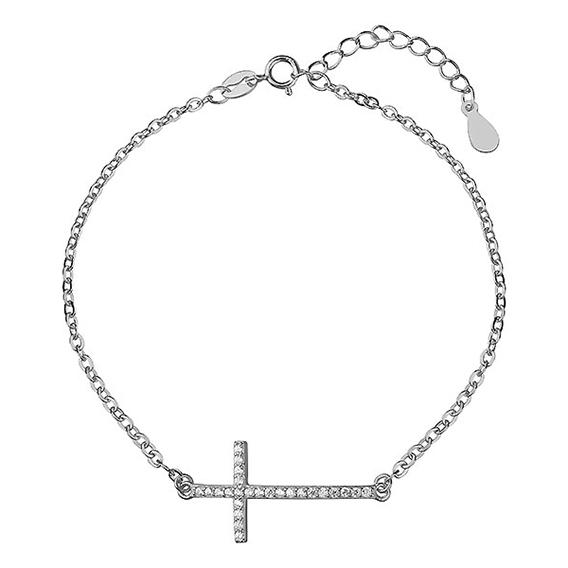 Stříbrný náramek velký křížek osazený zirkony