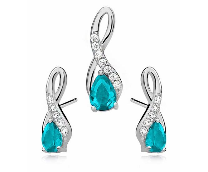 Elegantní sada stříbrných šperků s kubickými zirkony v barvě akvamarín