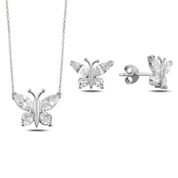 Stříbrná sada šperků motýl - náušnice, náhrdelník