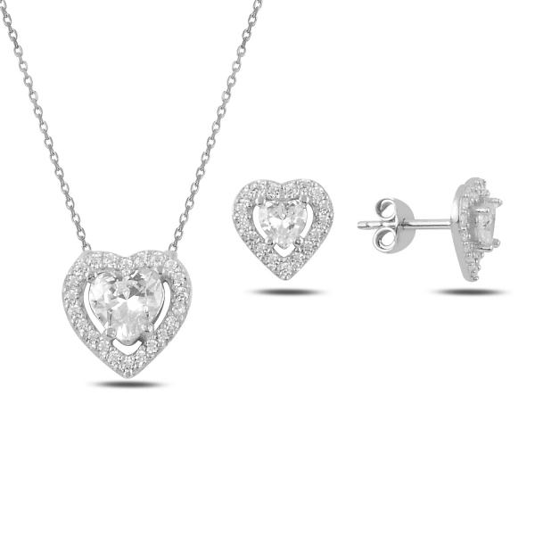 Stříbrná sada šperků srdce - náušnice, náhrdelník