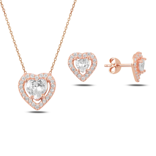 Stříbrná sada šperků srdce rose - náušnice, náhrdelník