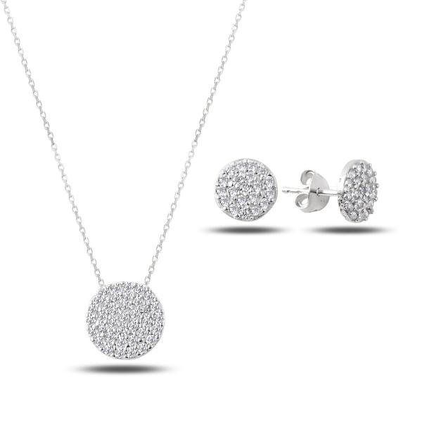 Stříbrná sada šperků Linda - náušnice, náhrdelník