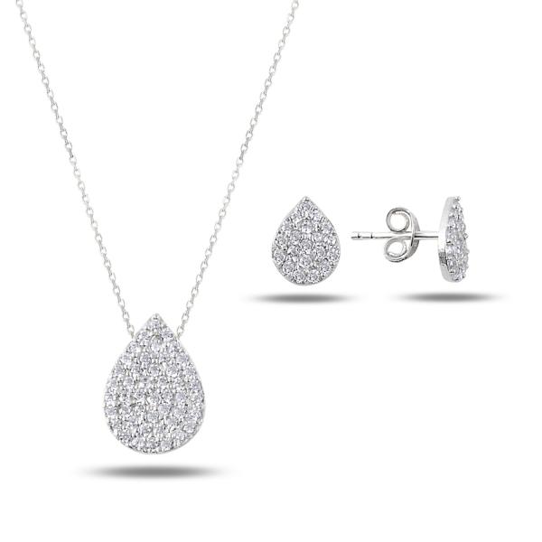 Stříbrná sada šperků kapka - náušnice, náhrdelník