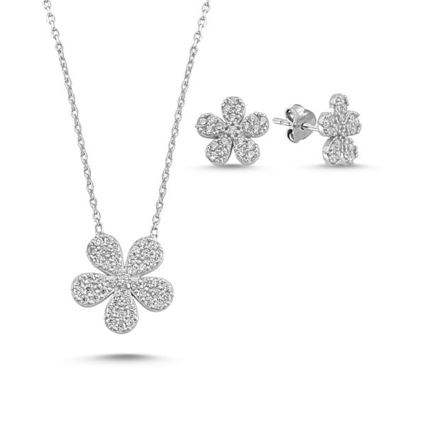 Stříbrná sada šperků květina ze zirkonů- náušnice, náhrdelník