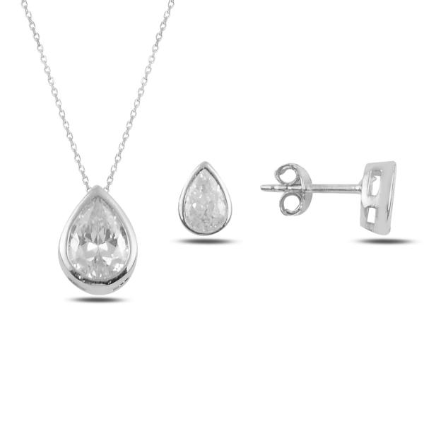 Stříbrná sada šperků zirkonová kapka- náušnice, náhrdelník