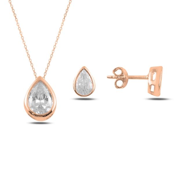 Stříbrná sada šperků zirkonová kapka rosegold- náušnice, náhrdelník