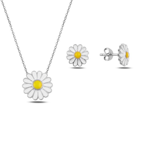 Stříbrná sada šperků kopretina- náušnice, náhrdelník