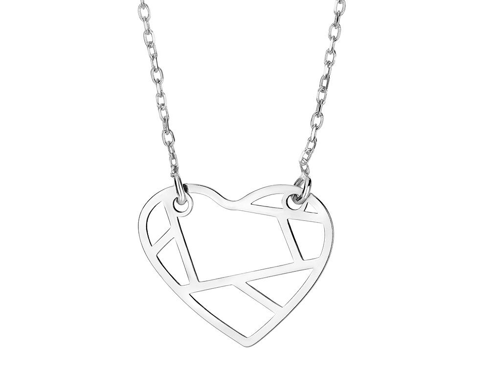 Stříbrný náhrdelník s origami srdcem