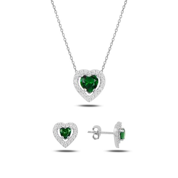 Stříbrná sada šperků srdce zelené - náušnice, náhrdelník