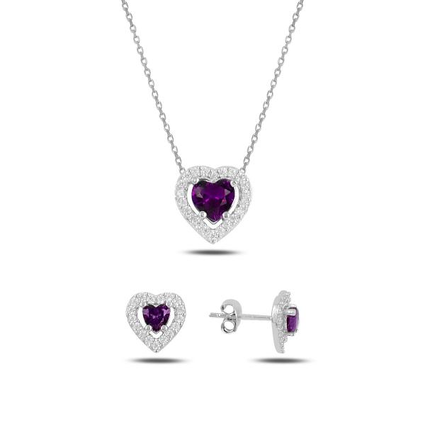 Stříbrná sada šperků srdce fialové - náušnice, náhrdelník