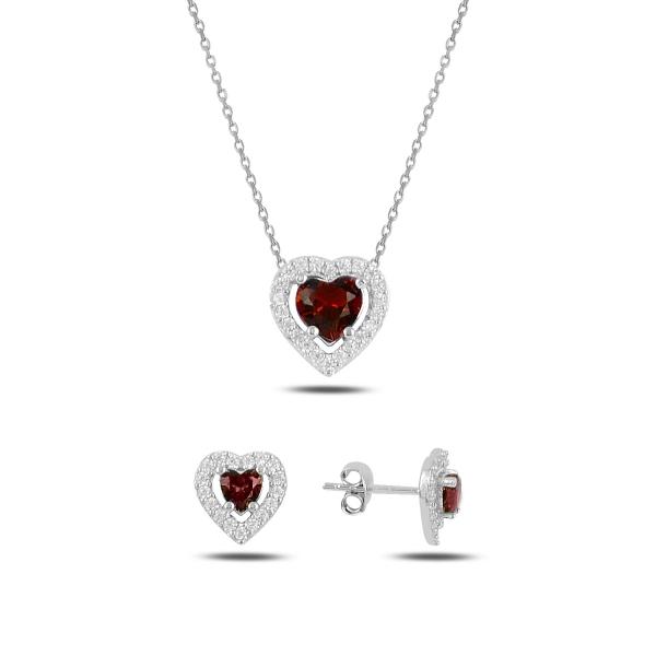Stříbrná sada šperků srdce růžové - náušnice, náhrdelník