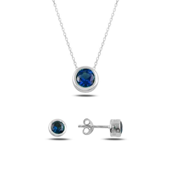 Stříbrná sada šperků pecky safírové - náušnice, náhrdelník
