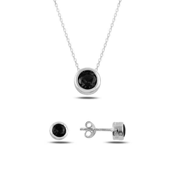 Stříbrná sada šperků pecky černý kámen - náušnice, náhrdelník