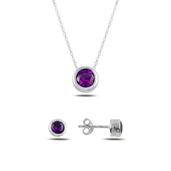 Stříbrná sada šperků pecky fialový kámen - náušnice, náhrdelník