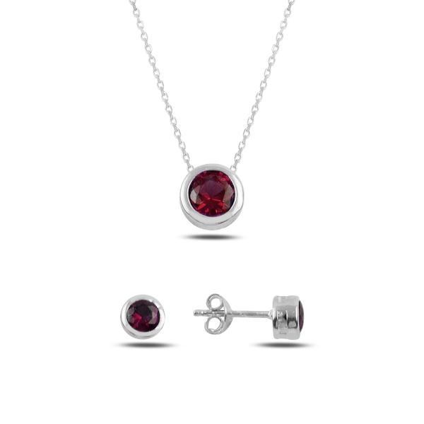 Stříbrná sada šperků pecky červené - náušnice, náhrdelník