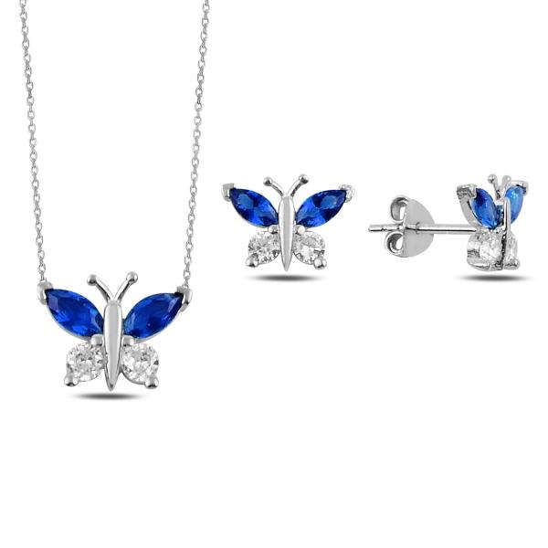 Stříbrná sada šperků motýl modrý - náušnice, náhrdelník