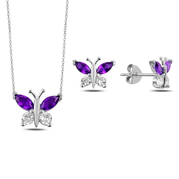 Stříbrná sada šperků motýl fialový - náušnice, náhrdelník