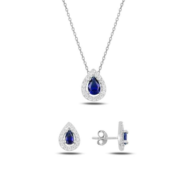 Luxusní stříbrná sada šperků - safírové slzičky