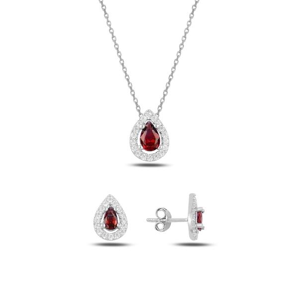 Luxusní stříbrná sada šperků - červené slzičky