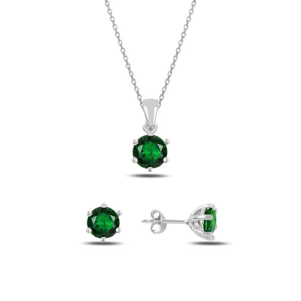 Stříbrná sada šperků zelená - náušnice, náhrdelník