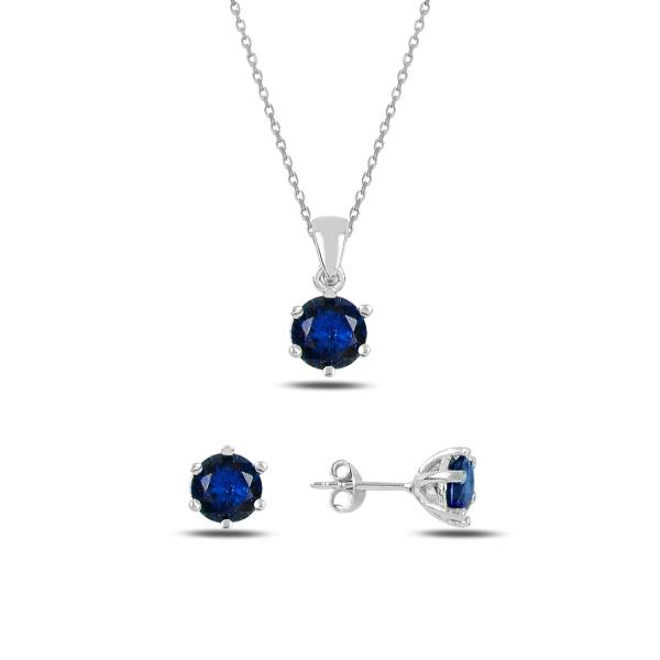 Stříbrná sada šperků temně modrá - náušnice, náhrdelník
