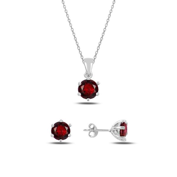 Stříbrná sada šperků temně červená - náušnice, náhrdelník