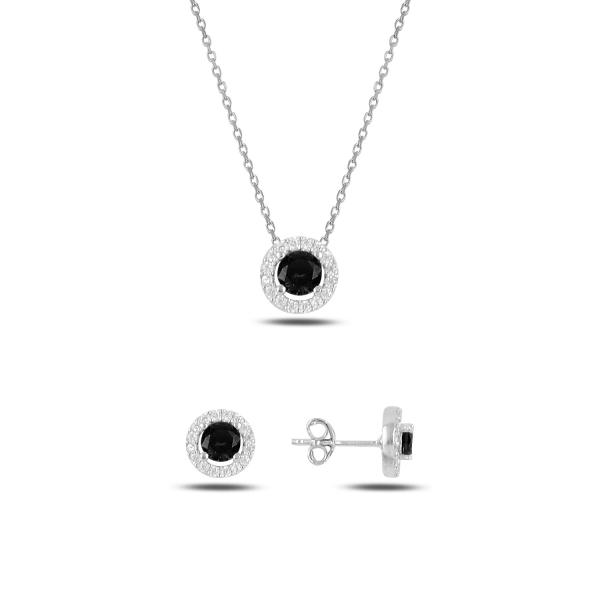 Stříbrná sada šperků třpytivá kolečka černý kámen - náušnice, náhrdelník