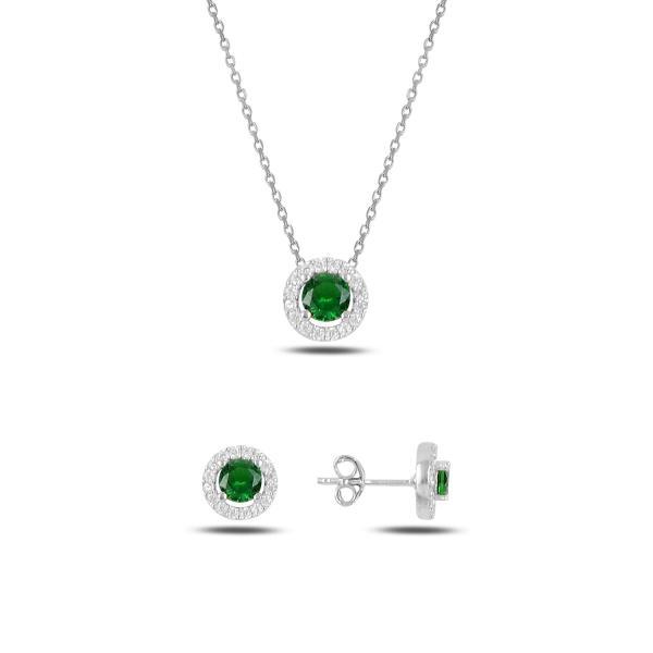 Stříbrná sada šperků třpytivá kolečka smaragdový kámen - náušnice, náhrdelník