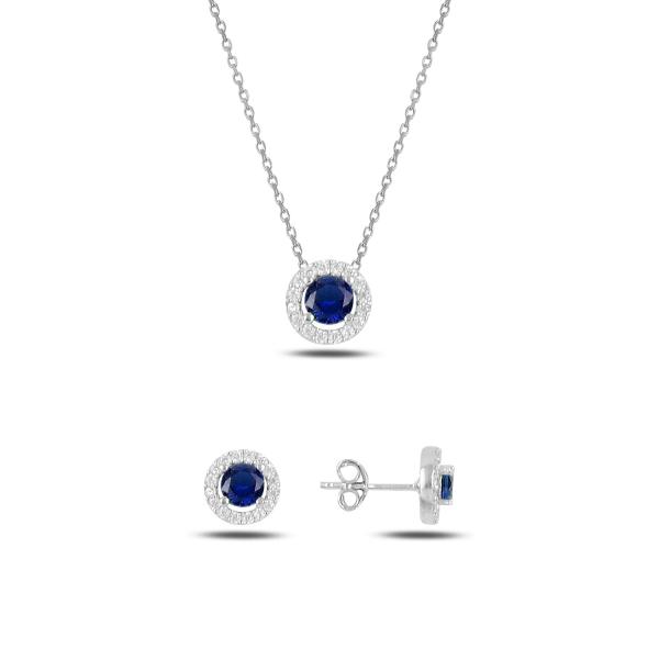 Stříbrná sada šperků třpytivá kolečka modrý kámen - náušnice, náhrdelník