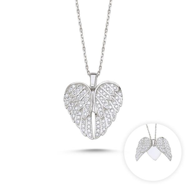 Luxusní stříbrný přívěsek otevírací andělská křídla s řetízkem