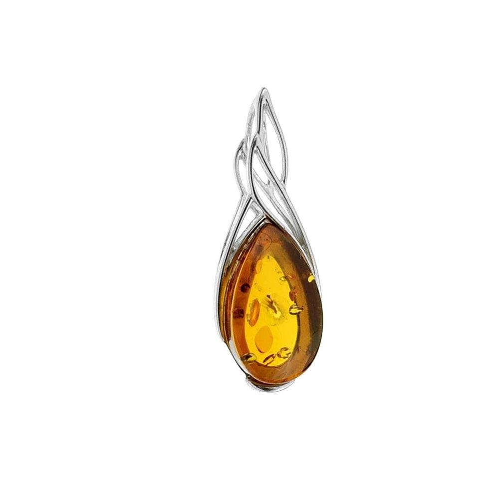 Jemný stříbrný přívěsek - jantar medové barvy