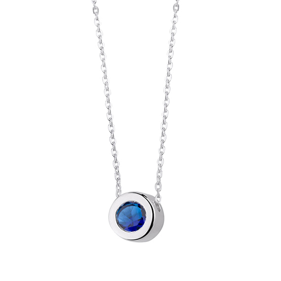 Minimalistický stříbrný náhrdelník se safírovým zirkonem