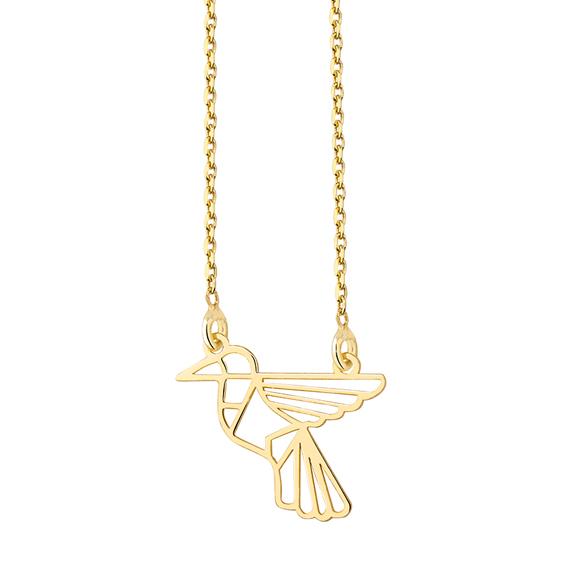 Stříbrný náhrdelník - pozlacený origami ptáček