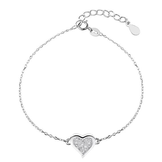 Klenoty Amber Stříbrný náramek srdce se zirkony