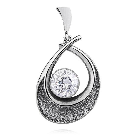 Stříbrný přívěsek z oxidovaného stříbra se zirkonem 6cm