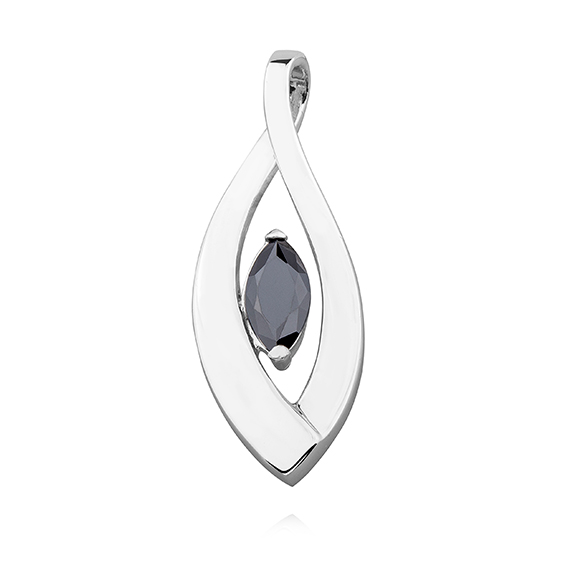 Stříbrný přívěsek s černým zirkonem 1074