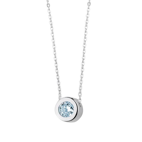 Minimalistický stříbrný náhrdelník se zirkonem akvamarín