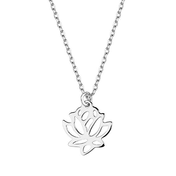 Stříbrný náhrdelník s květem lotosu