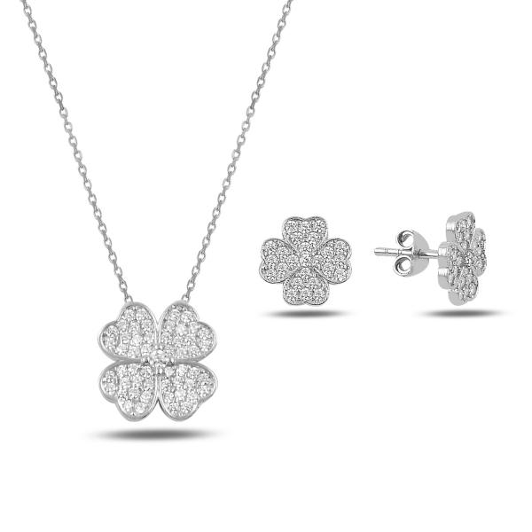 Stříbrná sada šperků čtyřlístek ze zirkonů- náušnice, náhrdelník
