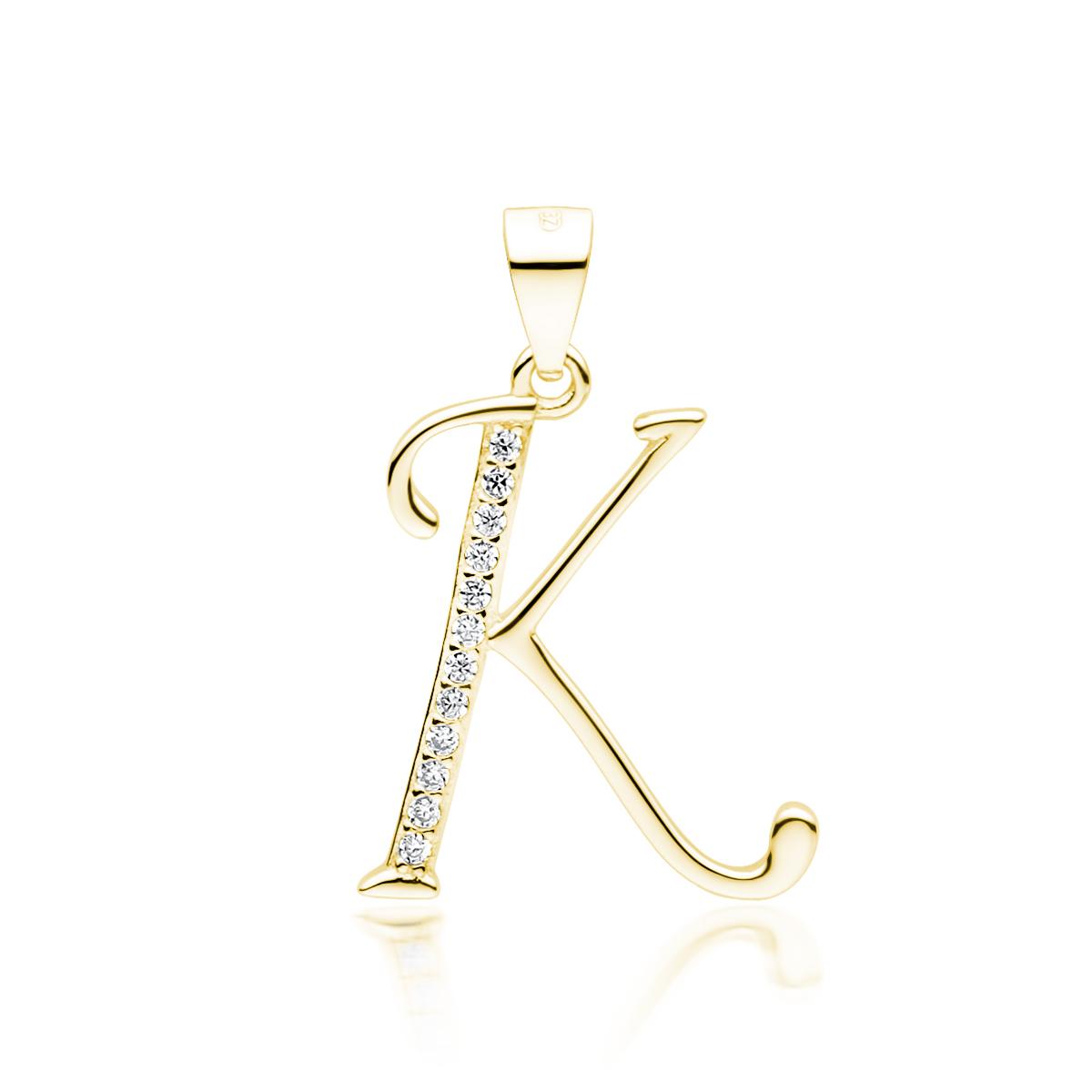 Klenoty Amber Stříbrný pozlacený přívěsek - písmeno K