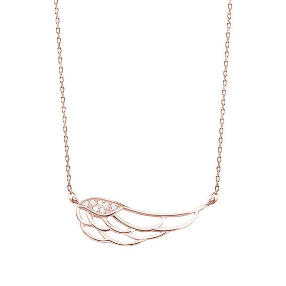 Stříbrný náhrdelník s křídlem - růžové zlacení