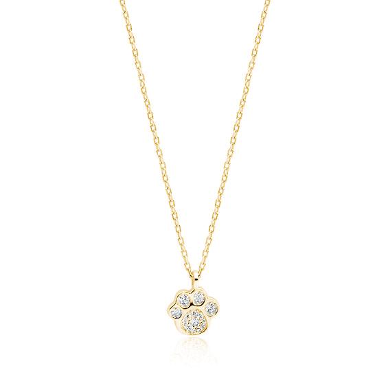 Stříbrný náhrdelník s tlapkou - zlacený