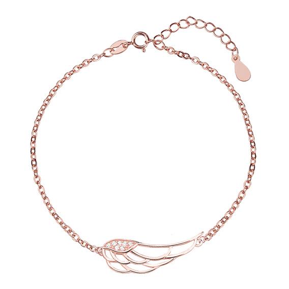 Stříbrný náramek s andělským křídlem se zirkony - pozlacený 1101