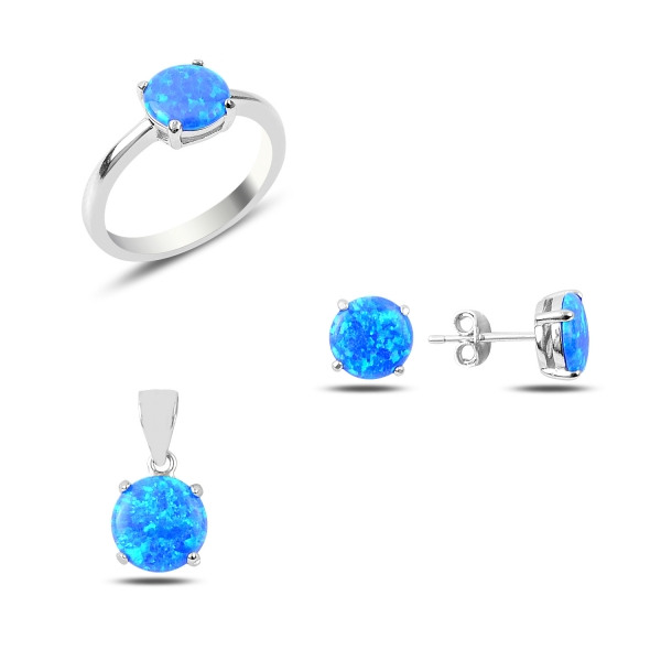 Jemná sada šperků s modrým opálem
