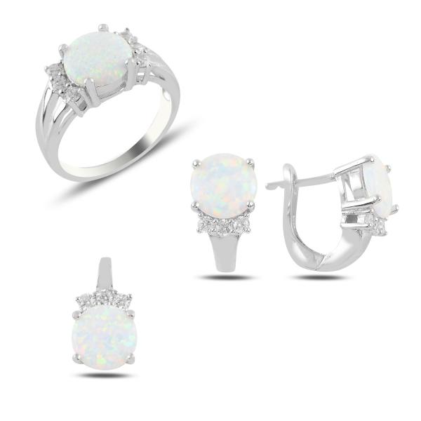Luxusní sada šperků s bílým opálem a zirkony