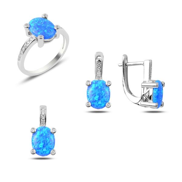 Luxusní sada šperků s modrým opálem a zirkony