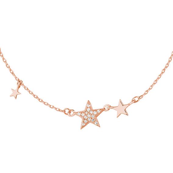 Stříbrný náhrdelník s hvězdou - potažený růžovým zlatem