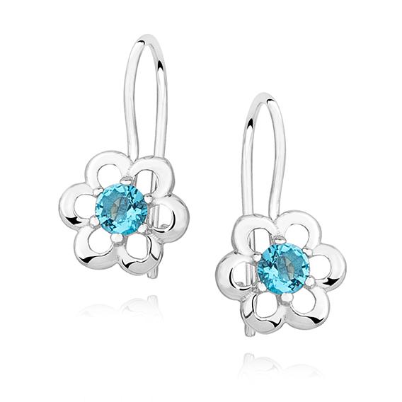 Stříbrné náušnice pro děti se zirkonem - modrý květ